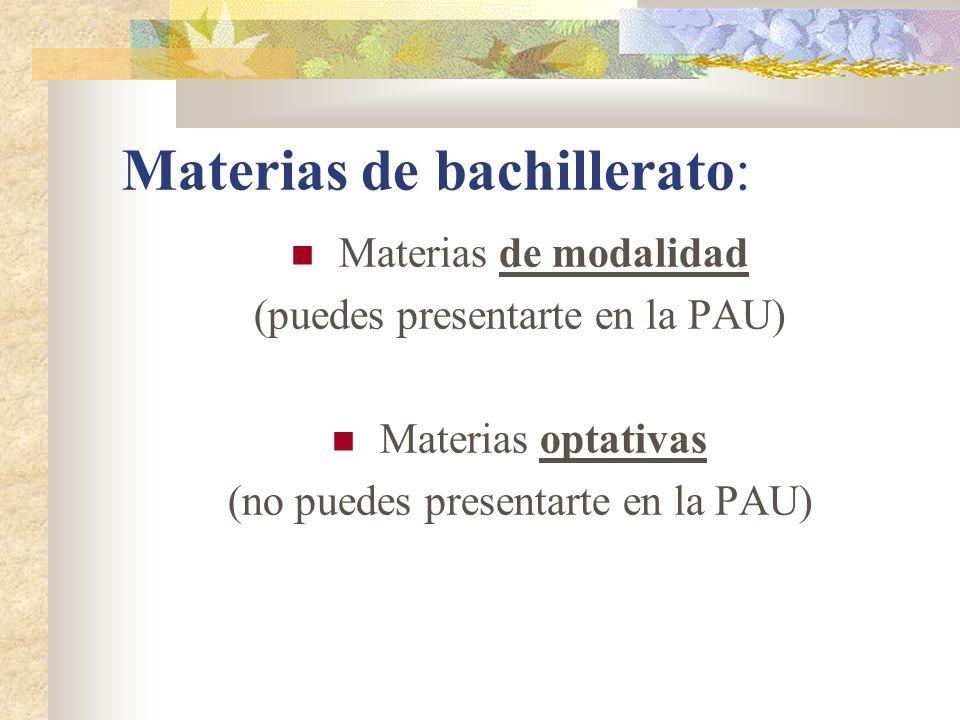 Materias de bachillerato: Materias de modalidad (puedes presentarte en la PAU) Materias optativas (no puedes presentarte en la PAU)