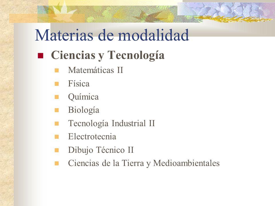 Materias de modalidad Ciencias y Tecnología Matemáticas II Física Química Biología Tecnología Industrial II Electrotecnia Dibujo Técnico II Ciencias d