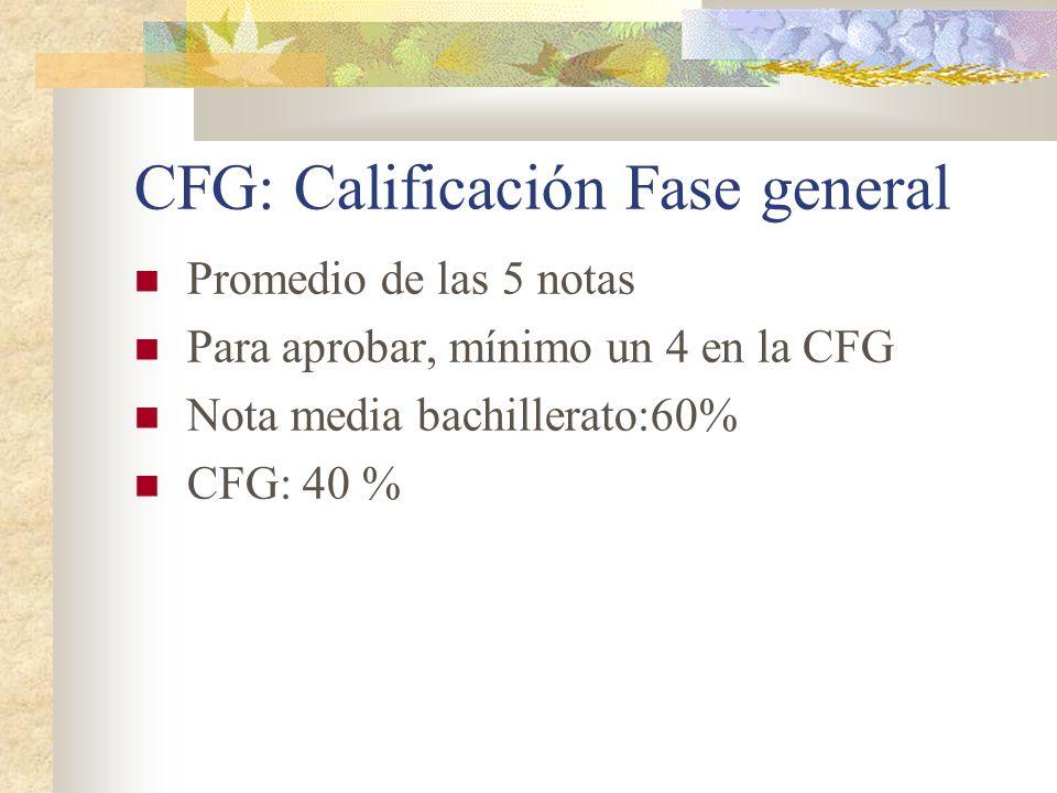 CFG: Calificación Fase general Promedio de las 5 notas Para aprobar, mínimo un 4 en la CFG Nota media bachillerato:60% CFG: 40 %