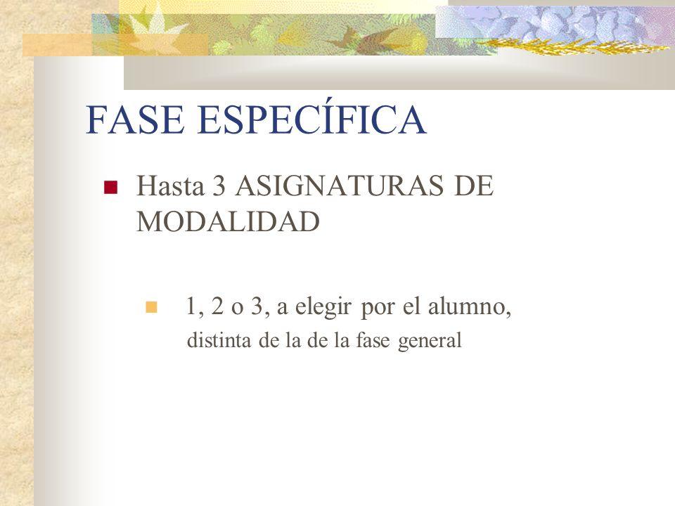 FASE ESPECÍFICA Hasta 3 ASIGNATURAS DE MODALIDAD 1, 2 o 3, a elegir por el alumno, distinta de la de la fase general