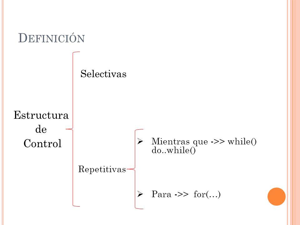 D EFINICIÓN Estructura repetitiva: Una estructura repetitiva es una instrucción que hace que se repitan un conjunto de instrucciones ya sean básicas, de control o complementarias.