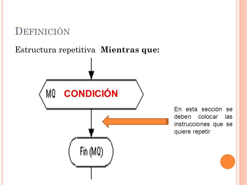 D EFINICIÓN Estructura repetitiva Mientras que: CONDICIÓN En esta sección se deben colocar las instrucciones que se quiere repetir