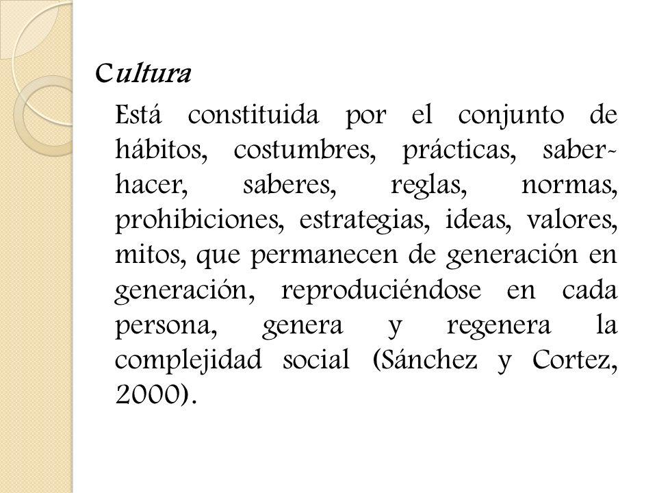 Cultura Está constituida por el conjunto de hábitos, costumbres, prácticas, saber- hacer, saberes, reglas, normas, prohibiciones, estrategias, ideas,