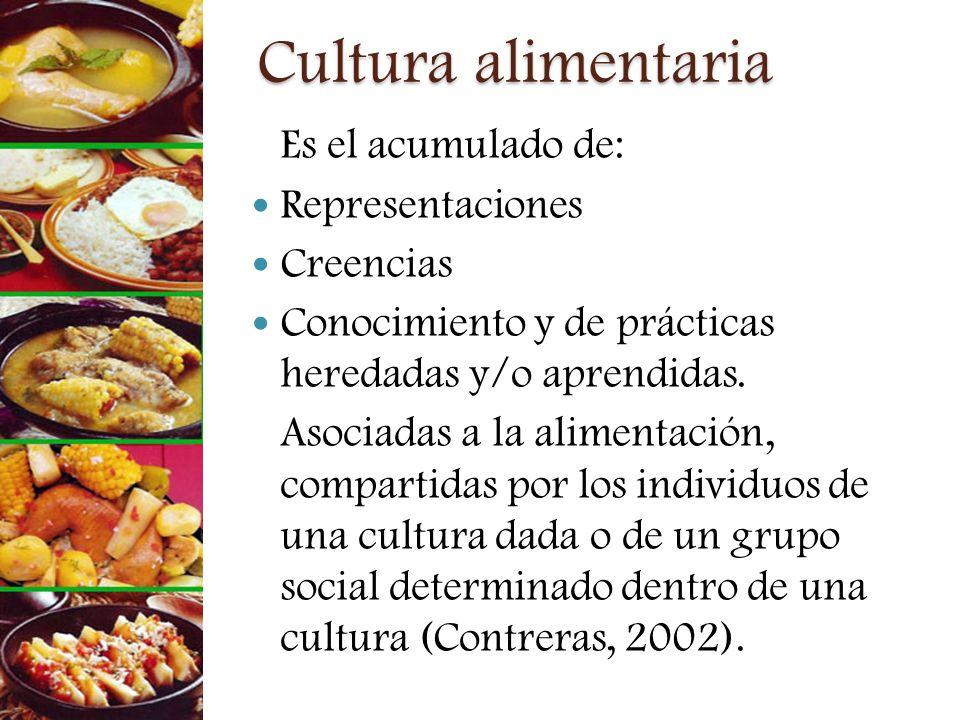 Cultura alimentaria Es el acumulado de: Representaciones Creencias Conocimiento y de prácticas heredadas y/o aprendidas. Asociadas a la alimentación,