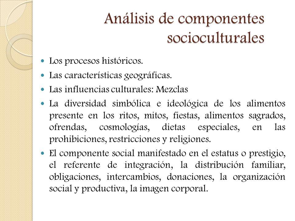 Análisis de componentes socioculturales Los procesos históricos. Las características geográficas. Las influencias culturales: Mezclas La diversidad si