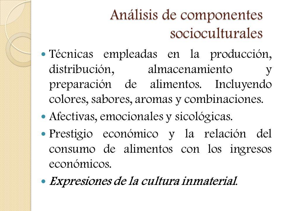 Análisis de componentes socioculturales Técnicas empleadas en la producción, distribución, almacenamiento y preparación de alimentos. Incluyendo color