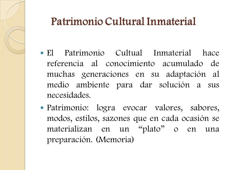Patrimonio Cultural Inmaterial El Patrimonio Cultual Inmaterial hace referencia al conocimiento acumulado de muchas generaciones en su adaptación al m