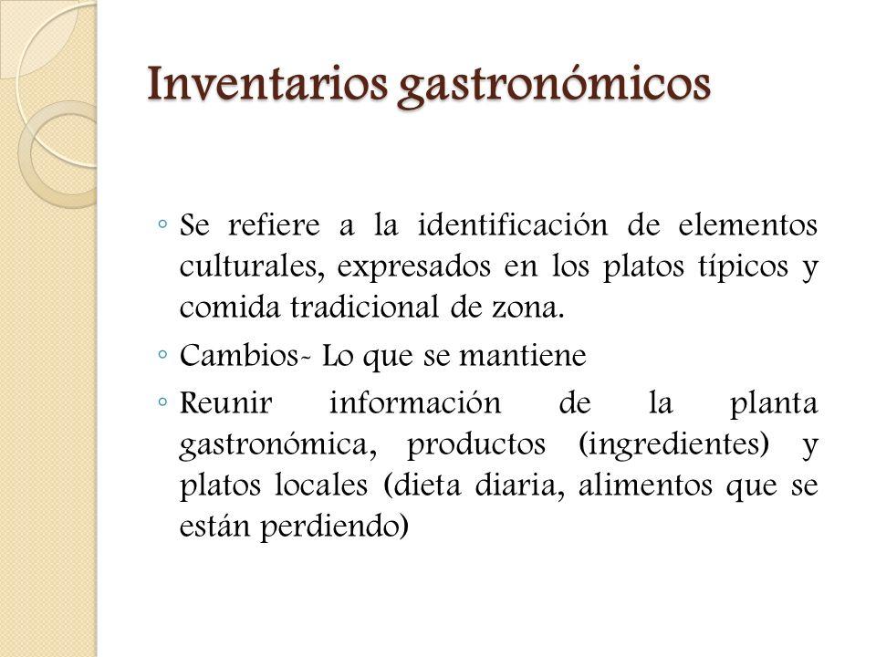 Inventarios gastronómicos Se refiere a la identificación de elementos culturales, expresados en los platos típicos y comida tradicional de zona. Cambi