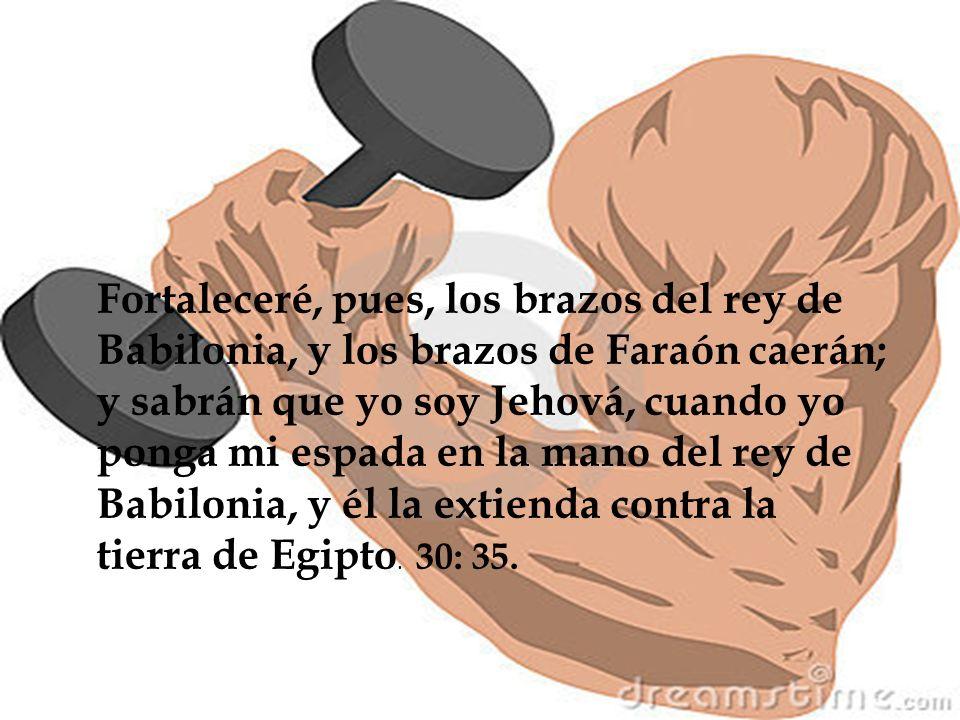 30:22 Por tanto, así ha dicho Jehová el Señor: Heme aquí contra Faraón rey de Egipto, y quebraré sus brazos, el fuerte y el fracturado, y haré que la espada se le caiga de la mano.