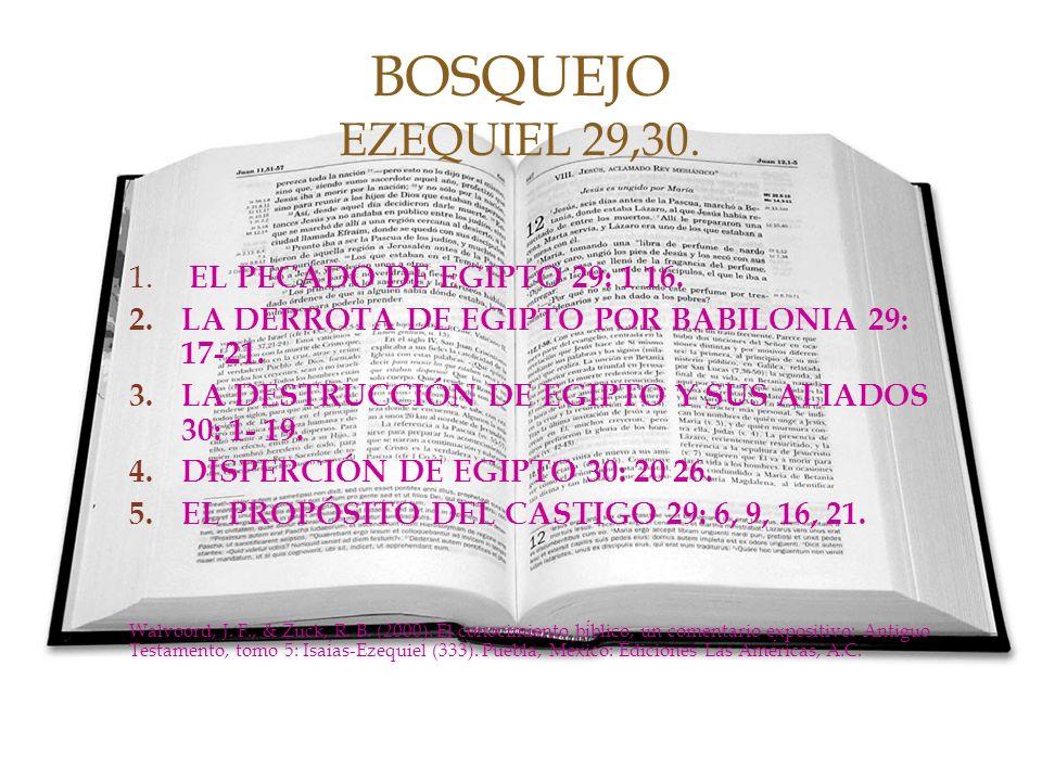 1. EL PECADO DE EGIPTO 29: 1 16. 2.LA DERROTA DE EGIPTO POR BABILONIA 29: 17-21. 3.LA DESTRUCCIÓN DE EGIPTO Y SUS ALIADOS 30: 1- 19. 4.DISPERCIÓN DE E