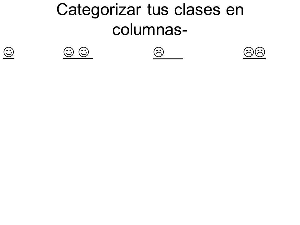 Categorizar tus clases en columnas-