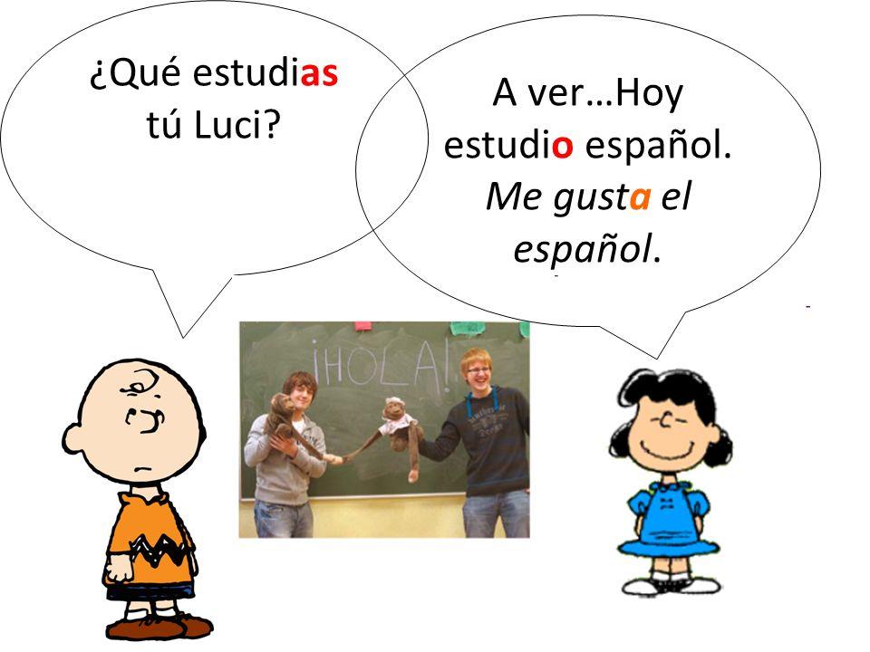 ¿Qué estudias tú Luci? A ver…Hoy estudio español. Me gusta el español.