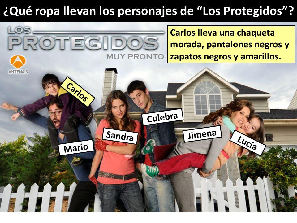 ¿Qué ropa llevan los personajes de Los Protegidos? Mario Lucía Jimena Sandra Culebra Carlos Carlos lleva una chaqueta morada, pantalones negros y zapa