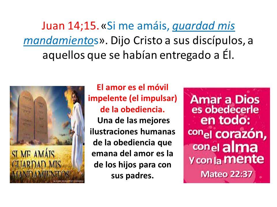 Juan 14;15. «Si me amáis, guardad mis mandamientos». Dijo Cristo a sus discípulos, a aquellos que se habían entregado a Él. El amor es el móvil impele