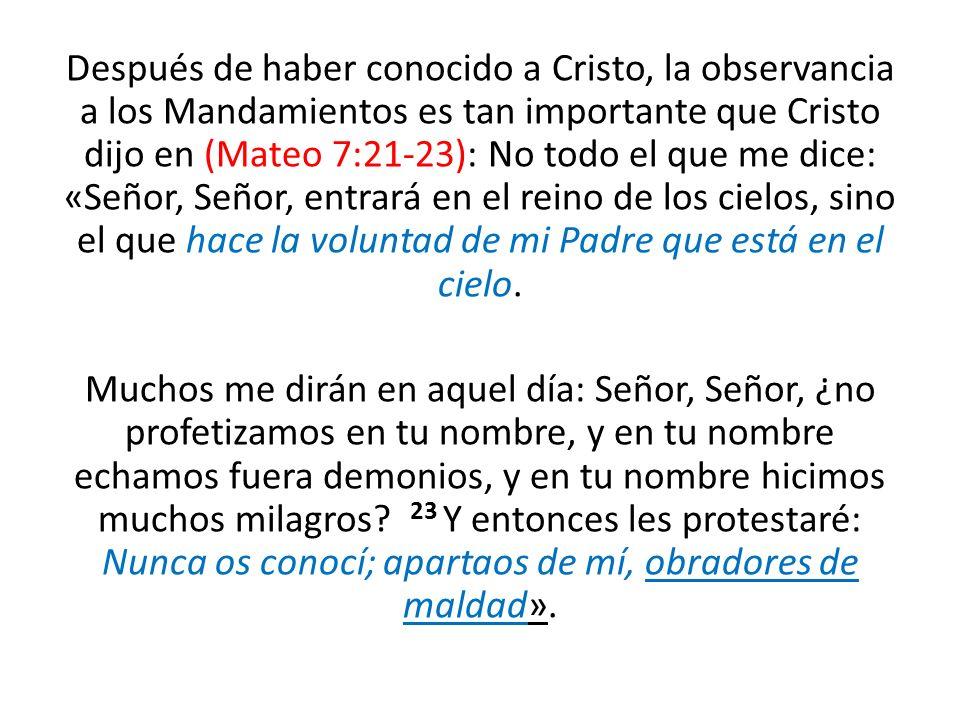 Después de haber conocido a Cristo, la observancia a los Mandamientos es tan importante que Cristo dijo en (Mateo 7:21-23): No todo el que me dice: «S