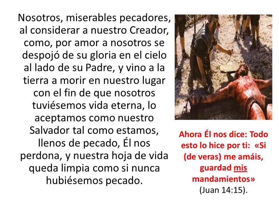 Ahora, después de que escuchamos su llamado a ir a Él, y descargamos en Él nuestros pecados, nuestra hoja de vida queda limpia, como si nunca hubiésemos transgredido ninguno de sus Mandamientos, habiéndolos transgredido, Él nos dice: «Cargad con mi yugo y aprended de mí, porque soy manso y humilde de corazón, y hallaréis reposo para vosotros» Mateo 11:29.