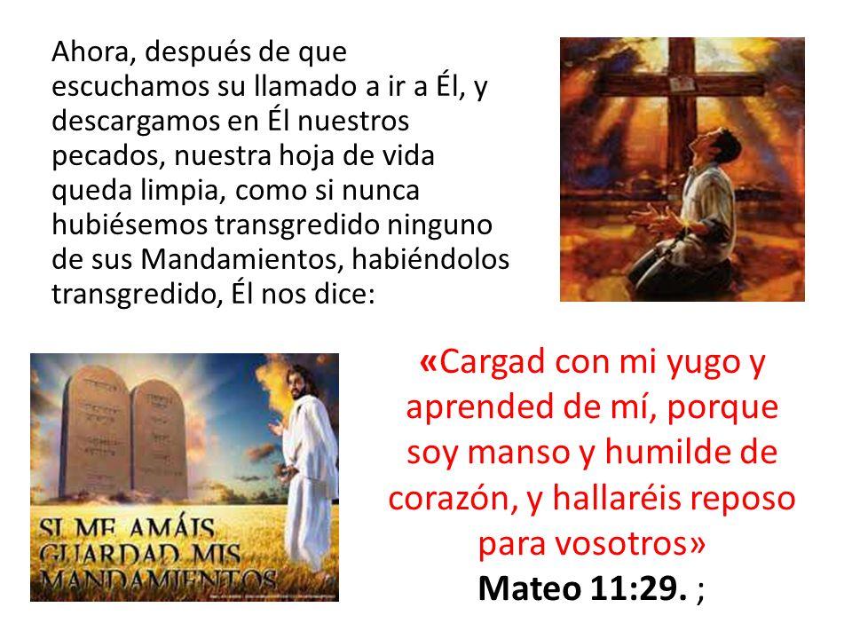 Ahora, después de que escuchamos su llamado a ir a Él, y descargamos en Él nuestros pecados, nuestra hoja de vida queda limpia, como si nunca hubiésem
