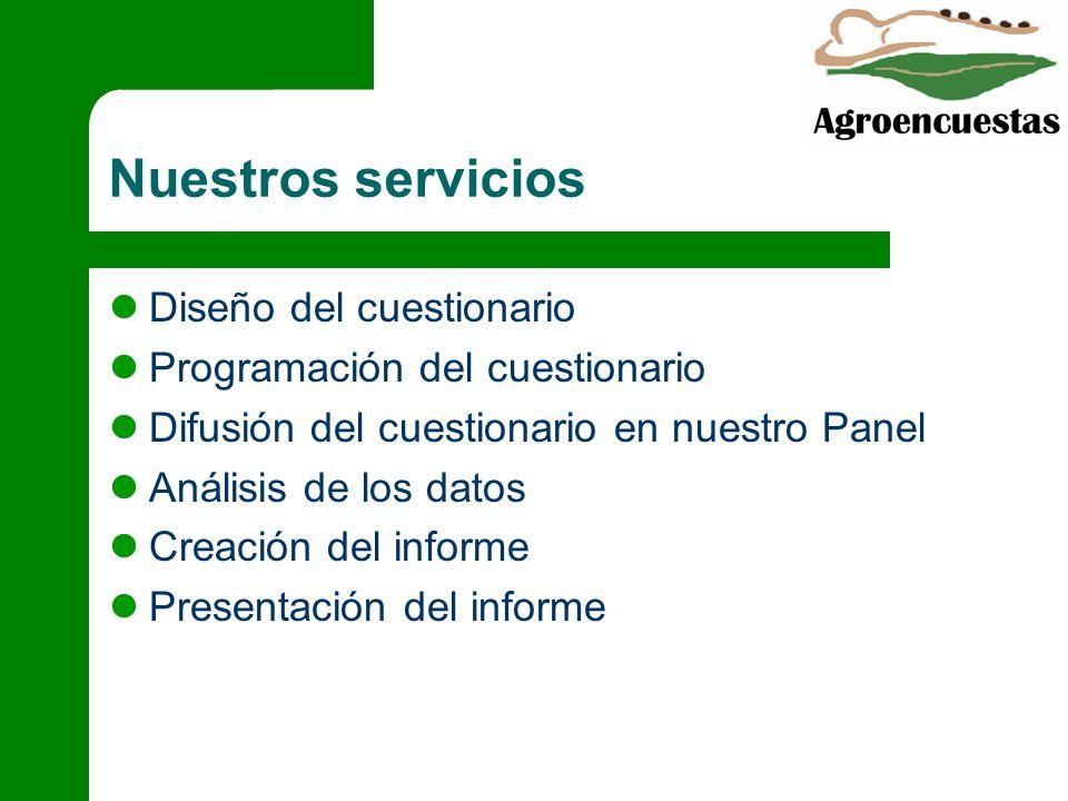 Diseño del cuestionario Programación del cuestionario Difusión del cuestionario en nuestro Panel Análisis de los datos Creación del informe Presentaci