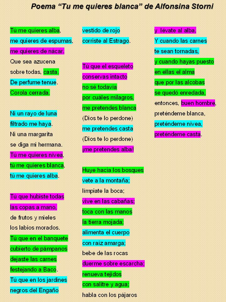 Tú Me Quieres Blanca Alfonsina Storni El poema de Alfonsina Storni propuesto para el comentario es Tú me quieres blanca, incluido en el libro de poemas El dulce daño (1918).