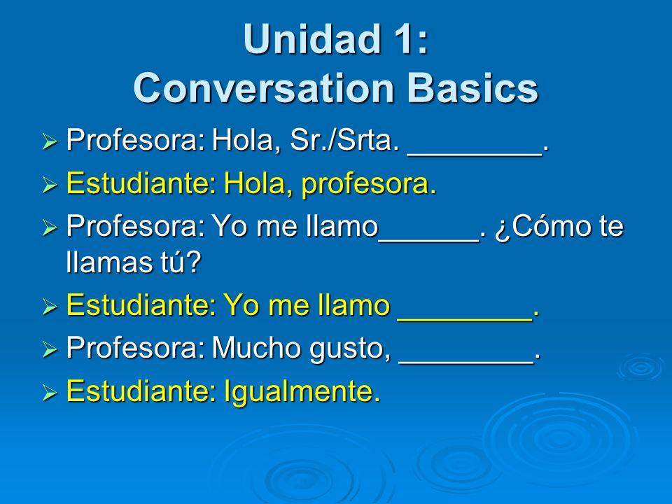 Unidad 1: Conversation Basics Profesora: Hola, Sr./Srta. ________. Profesora: Hola, Sr./Srta. ________. Estudiante: Hola, profesora. Estudiante: Hola,