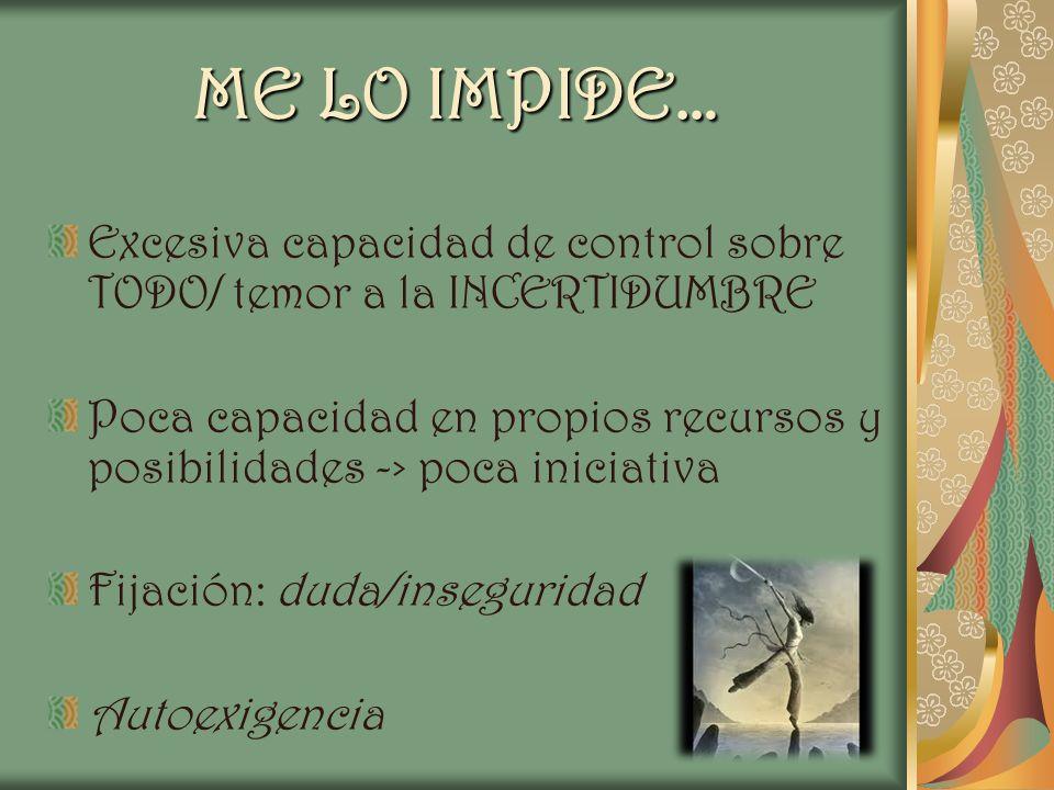 ME LO IMPIDE… Excesiva capacidad de control sobre TODO/ temor a la INCERTIDUMBRE Poca capacidad en propios recursos y posibilidades -> poca iniciativa