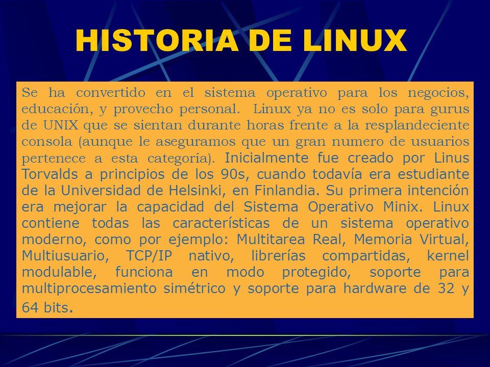 HISTORIA DE LINUX Se ha convertido en el sistema operativo para los negocios, educación, y provecho personal.