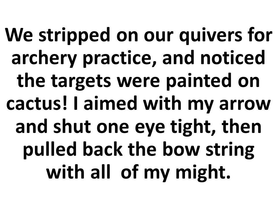 Sujetábamos con temblor para la práctica el tiro al arco, y notamos que los objetivos ¡estaban pintados en los cactus.