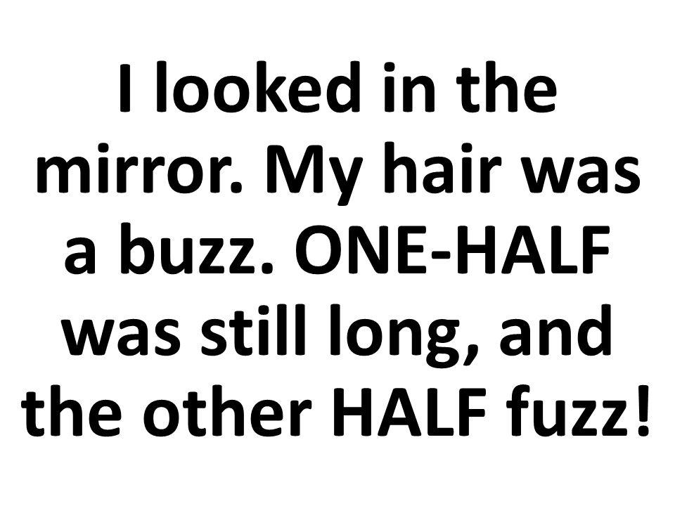 Mi pelo estaba dividido. UNA MITAD estaba larga, y ¡la otra MITAD era pelillo!