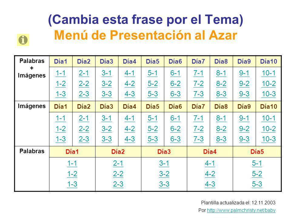 (Cambia esta frase por el Tema) Menú de Presentación al Azar Plantilla actualizada el: 12.11.2003 Por http://www.palmchristy.net/babyhttp://www.palmchristy.net/baby Palabras + Imágenes Día1Día2Día3Día4Día5Día6Día7Día8Día9Día10 1-1 1-2 1-3 2-1 2-2 2-3 3-1 3-2 3-3 4-1 4-2 4-3 5-1 5-2 5-3 6-1 6-2 6-3 7-1 7-2 7-3 8-1 8-2 8-3 9-1 9-2 9-3 10-1 10-2 10-3 Imágenes Día1Día2Día3Día4Día5Día6Día7Día8Día9Día10 1-1 1-2 1-3 2-1 2-2 2-3 3-1 3-2 3-3 4-1 4-2 4-3 5-1 5-2 5-3 6-1 6-2 6-3 7-1 7-2 7-3 8-1 8-2 8-3 9-1 9-2 9-3 10-1 10-2 10-3 Palabras Día1Día2Día3Día4Día5 1-1 1-2 1-3 2-1 2-2 2-3 3-1 3-2 3-3 4-1 4-2 4-3 5-1 5-2 5-3