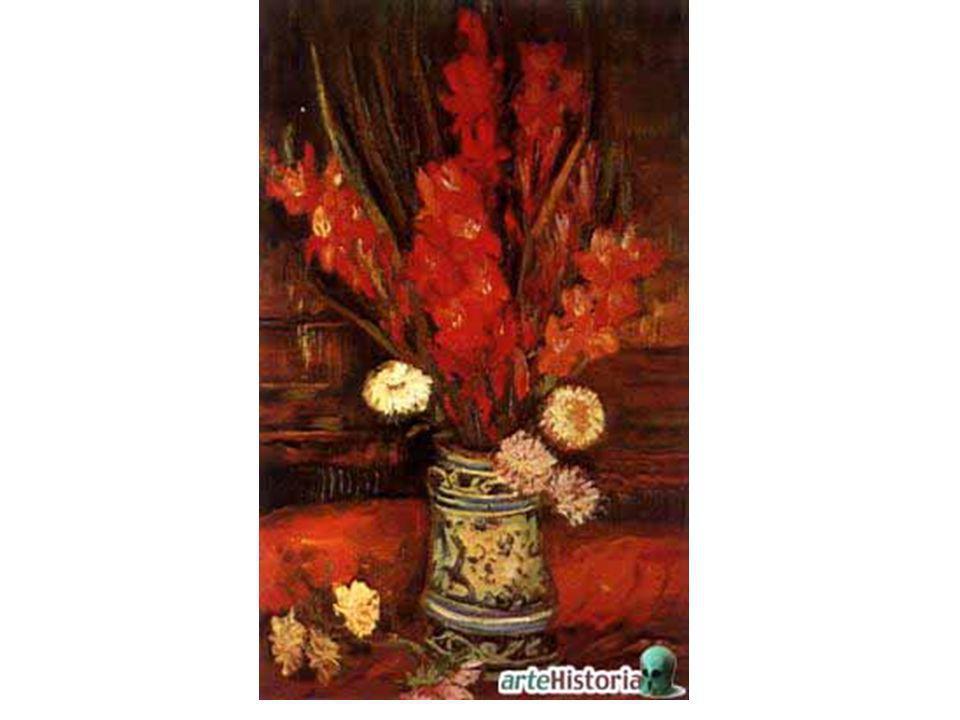 Jarrón con gladiolos rojos
