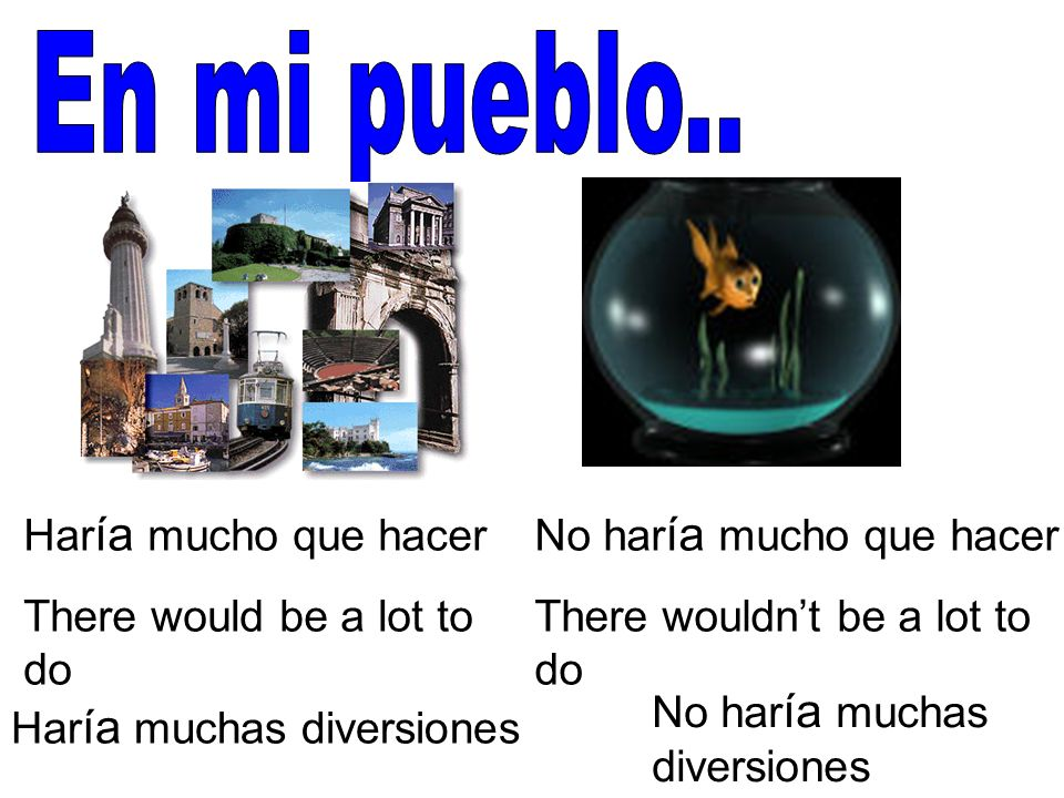 Har ía mucho que hacer There would be a lot to do No har ía mucho que hacer There wouldnt be a lot to do Har ía muchas diversiones No har ía muchas di