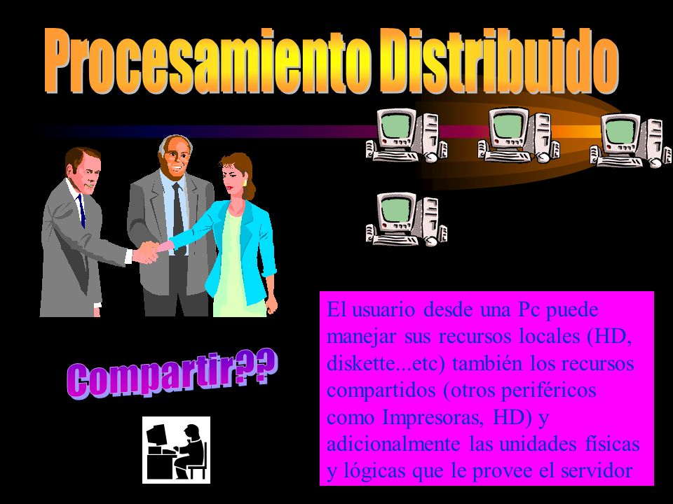 Ante la problemática que representaba manejar el Proceso descentralizado debido al concepto de Terminal Tonto aparece otra arquitectura que permitía la posibilidad de COMPARTIR recursos de Hardware y Software entre cada uno de los elementos que forman parte de la red.