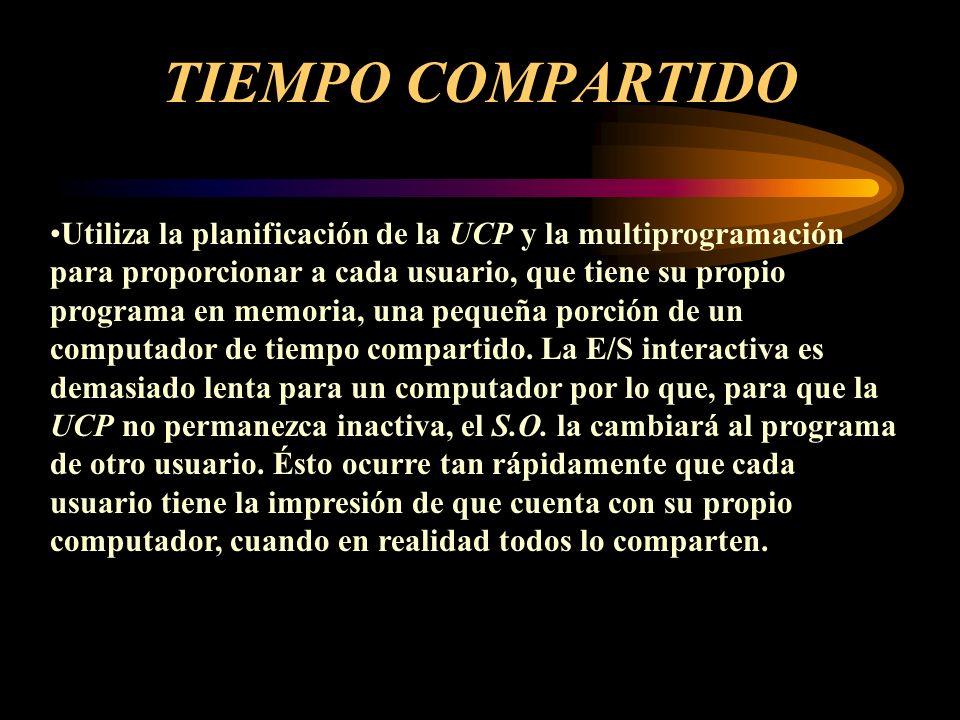 MULTIPROGRAMACION Un solo usuario no puede, en general, mantener todo el tiempo ocupado a la UCP o a los dispositivos de E/S.