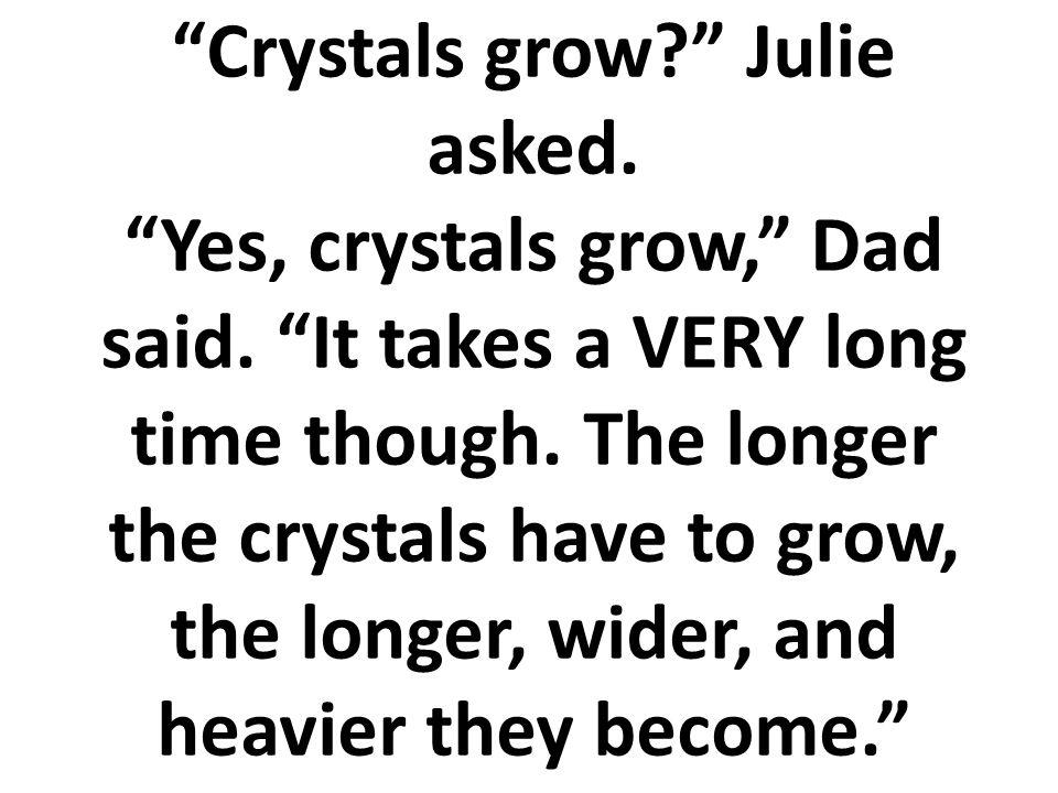 ¿Los cristales crecen? Preguntó Julia. Sí, los cristales crecen, dijo su papá. Aunque les toma MUCHO tiempo. Mientras más tiempo dura el cristal para