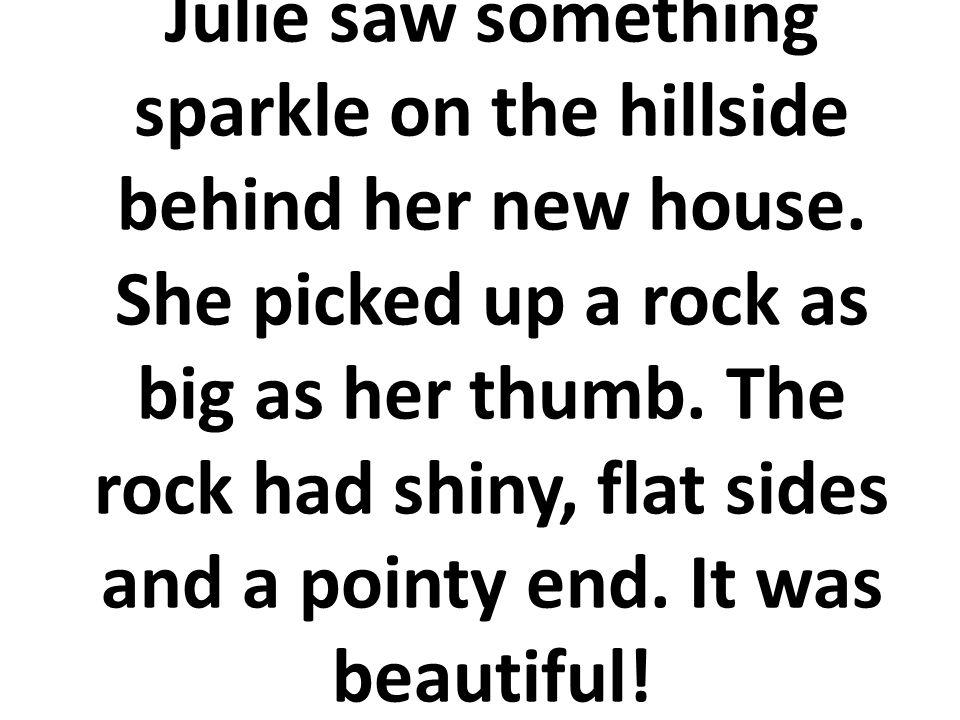 Julie vio algo brilloso en la ladera detrás de la casa nueva. Ella recogió una roca tan grande como su dedo gordo. La roca tenía dos lados planos, bri
