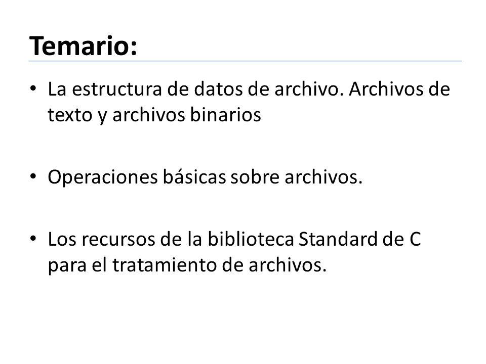 Temario: La estructura de datos de archivo. Archivos de texto y archivos binarios Operaciones básicas sobre archivos. Los recursos de la biblioteca St