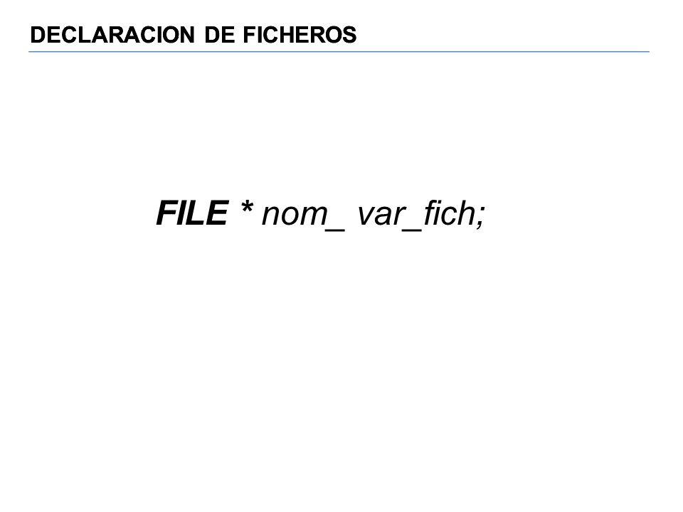 DECLARACION DE FICHEROS FILE * nom_ var_fich;