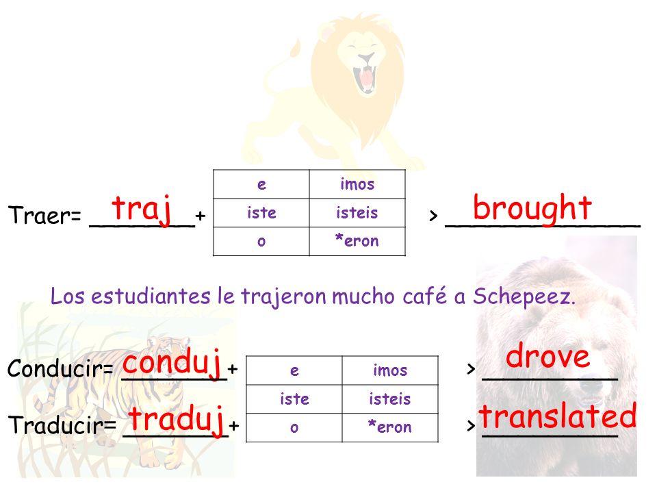 Traer= _______+ > _____________ traj eimos isteisteis o*eron brought Los estudiantes le mucho café a Schepeez. trajeron eimos isteisteis o*eron conduj