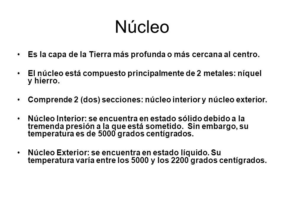 Núcleo Es la capa de la Tierra más profunda o más cercana al centro. El núcleo está compuesto principalmente de 2 metales: níquel y hierro. Comprende