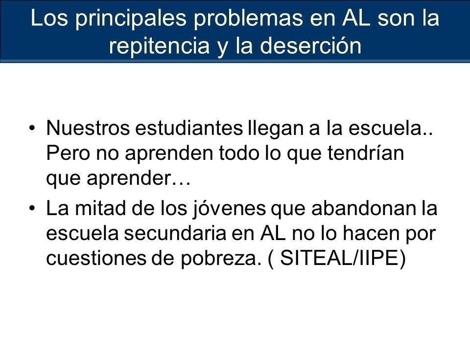Los principales problemas en AL son la repitencia y la deserción Nuestros estudiantes llegan a la escuela..