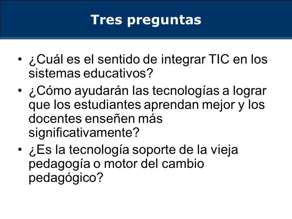 Tres preguntas ¿Cuál es el sentido de integrar TIC en los sistemas educativos.
