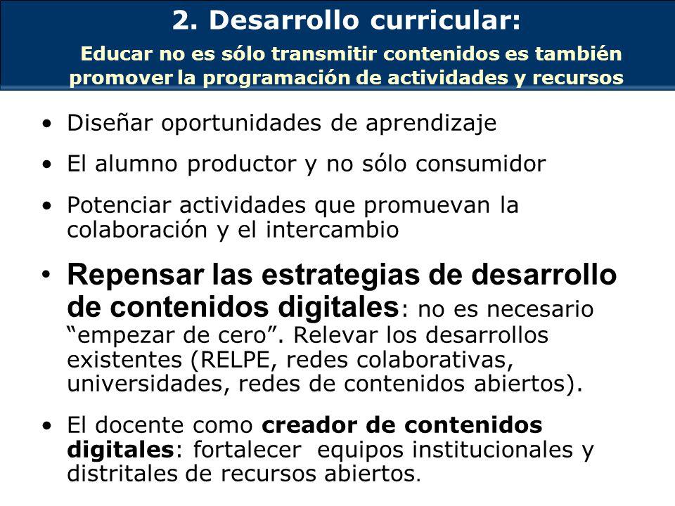 2. Desarrollo curricular: Educar no es sólo transmitir contenidos es también promover la programación de actividades y recursos Diseñar oportunidades