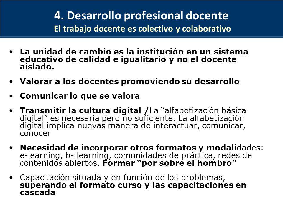 4. Desarrollo profesional docente El trabajo docente es colectivo y colaborativo La unidad de cambio es la institución en un sistema educativo de cali