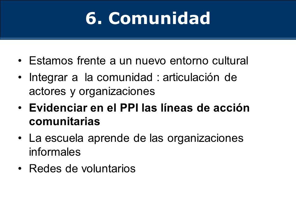 6. Comunidad Estamos frente a un nuevo entorno cultural Integrar a la comunidad : articulación de actores y organizaciones Evidenciar en el PPI las lí