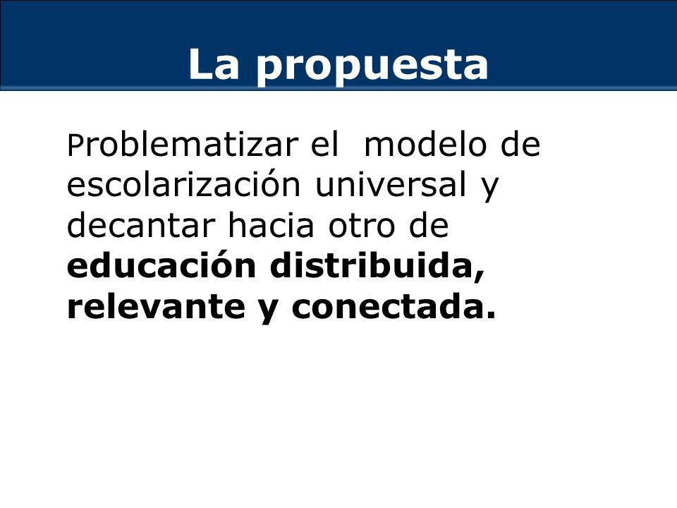La propuesta P roblematizar el modelo de escolarización universal y decantar hacia otro de educación distribuida, relevante y conectada.