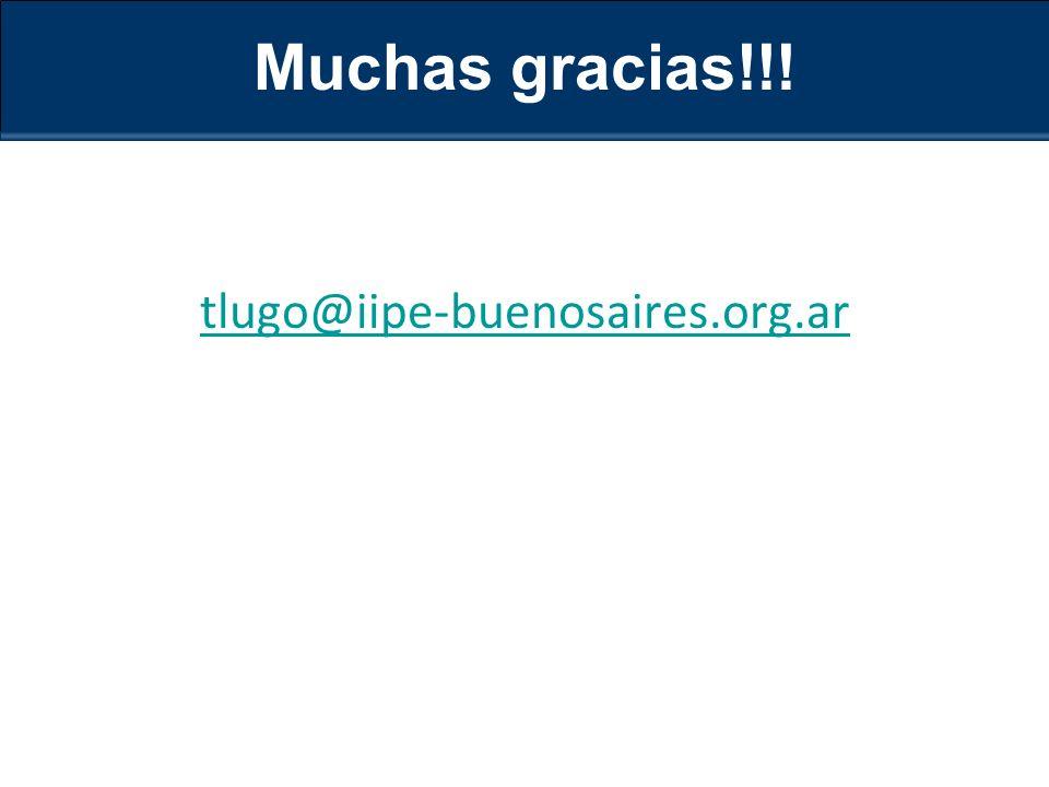Muchas gracias!!! tlugo@iipe-buenosaires.org.ar