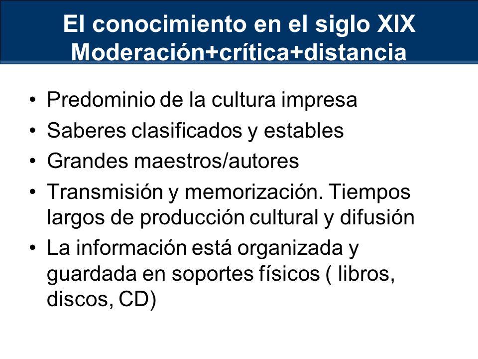 El conocimiento en el siglo XIX Moderación+crítica+distancia Predominio de la cultura impresa Saberes clasificados y estables Grandes maestros/autores Transmisión y memorización.