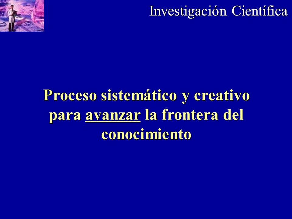 Investigación Científica Proceso sistemático y creativo para avanzar la frontera del conocimiento
