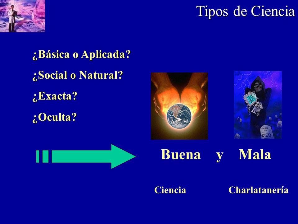 Tipos de Ciencia ¿Básica o Aplicada? ¿Social o Natural? ¿Exacta?¿Oculta? Buena y Mala Ciencia Charlatanería
