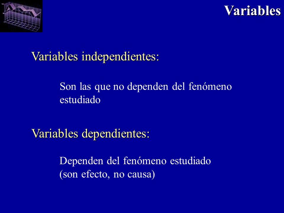 Variables independientes: Variables dependientes: Son las que no dependen del fenómeno estudiado Dependen del fenómeno estudiado (son efecto, no causa